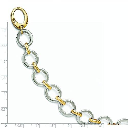 14 carats-Bicolore-cercle poli Bracelet lien-JewelryWeb - 7,5 cm