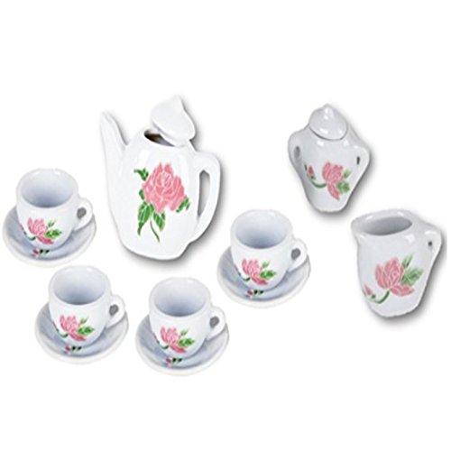 Play Kreative 13 PC Miniature Mini Porcelain Toy Tea Set - Kids Flower Ceramic Tea Set Kitchen Playset - Play Food (Miniature Ceramic Tea Set)