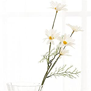 """YUIOP 21"""" Artificial Daisy Flowers 10Pcs 5 Head Fake Silk Flower Arrangements for House Table Hotel Home Office Wedding Party Garden Craft Art Decor (White) 95"""