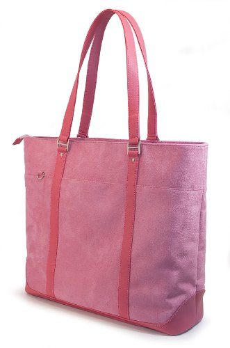 Mobile Edge Caring Case Laptop Tote Bag, Pink Faux-Suede, Fits 16 Inch PC and 17 Inch MacBook, SafetyCell Computer Protection Compartment, for Women, Business, Students ()