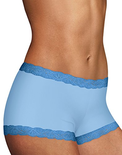Maidenform Women's Microfiber with Lace Boyshort, Zen Blue, 9