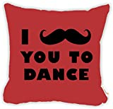 "Rikki Knight I Mustache You to Dance Red Color Design 18"" Square Microfiber Throw Decorative Pillow with Double Sided Print (Insert NOT Included)"