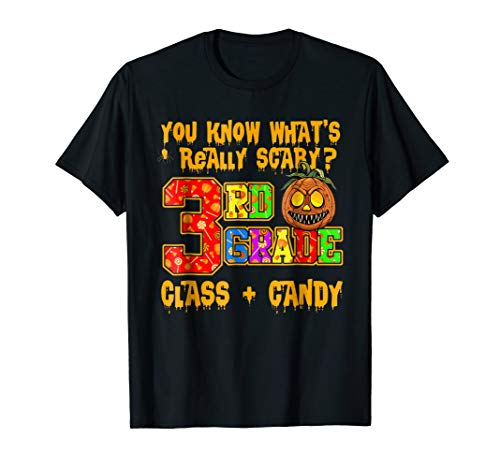 3rd Grade Class teacher Halloween Shirt Funny Candy Joke -