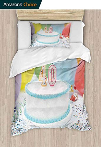 (40th Birthday 3D Bedding Quilt Set, Joyful Occasion Homemade Surprise Cake Candlestick Balloons Colorful Stars, Reversible Coverlet, Bedspread, Gifts for Girls Women,79 W x 90 L Inches, Multicolor)