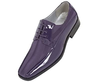 Viotti Mens Purple Dress Oxford with Striped Satin and Patent Trim : Style 179 Purple -049 7.5 D (M) US