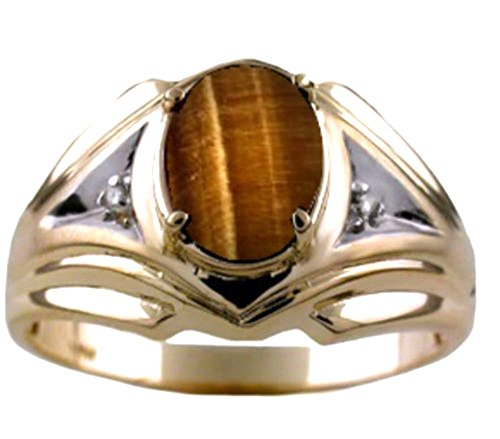 Mens Tiger Eye & Diamond Ring Sterling Silver or Yellow Gold Plated