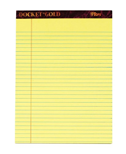 "TOPS Docket Gold Writing Pads, 8-1/2"" x 11-3/4"", Legal Rule, Canary Paper, 50 Sheets, 6 Pack (99707)"