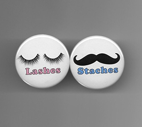 (Pink Lashes & Blue Staches Gender Reveal Girl Boy Baby Shower Party Favors Pin Back Buttons Round Pinback 1-1/2 Set of 20)