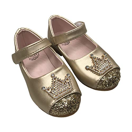 LINKEY Toddler Girls Princess Dress Shoes Shiny Crown Flat Shoes Casual Mary Jane Golden Size 24
