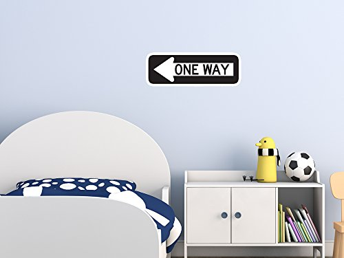 Street & Traffic Sign Wall Decals - One Way to the Left Sign - 12 inch Removable Graphic