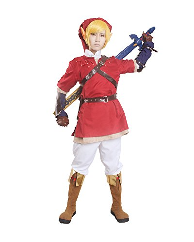 [Miccostumes Men's the Legend of Zelda Link Cosplay Costume (Small, Red and White)] (Cosplay Costume Zelda)