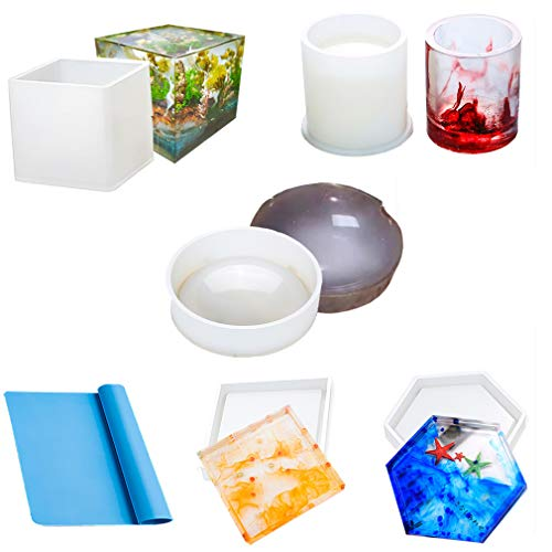 Resin Mold Silicone 5Pcs Epoxy Casting Molds for DIY Ashtrays Coaster Cup Pen Soap Candle Holder and Cube Decoration Include Large Round Square Cube Rhombus Cylindrical and Little Silicone Sheets