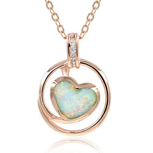 espere Lab Created White Fire Opal Heart Rose Gold Pendant Necklace, 18 Inch Sterling Silver Chain with Extender