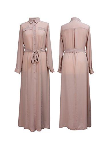 Nuevo vestido de manga larga camisa Maxi con cinturón tamaños EU 34 - 44 Rosa