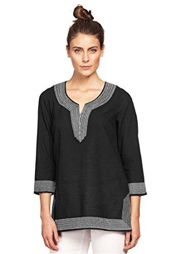 Ellos Women's Plus Size Embroidered Kurta Woven Tunic Black,S