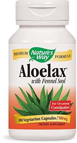 Natures Way AloeLax, 340 milligrams, 100 Vegatarian Capsules. Pack of 9 Bottles Pack 9 by Nature's Way