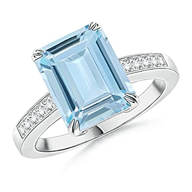 Angara Emerald-Cut Aquamarine with Round Diamond Accent Ring bzbp0A5TKJ