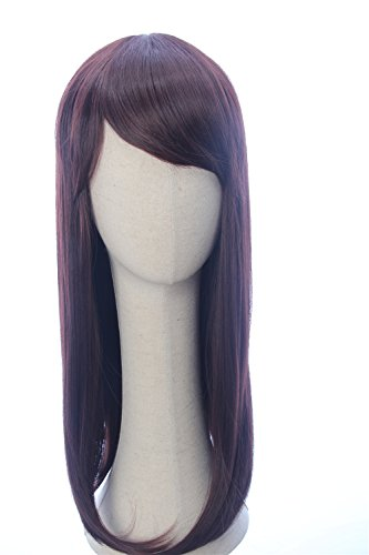 CosplayWigsCom: Elastigirl Helen Parr of Incredibles 2 Inspired Long Natural Brown Straight Wig with Slanting Bangs Anime Cosplay Halloween Costume Wig for Women -