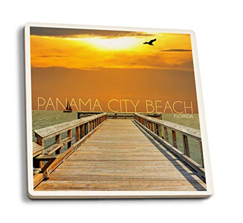 Lantern Press Panama City Beach, Florida - Pier at Sunset (Set of 4 Ceramic Coasters - Cork-Backed, ()
