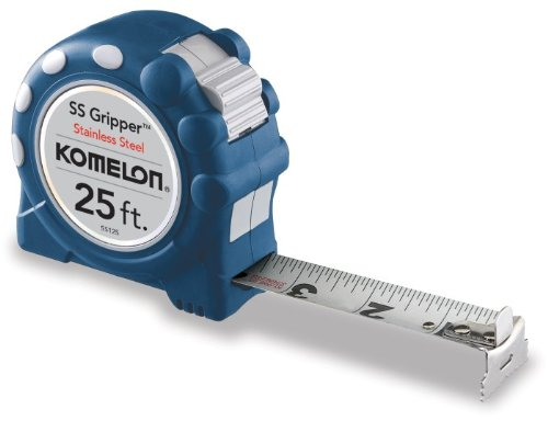 Komelon USA SS125 1'' X 25' SS Gripper Stainless Steel W/Rubber Grip Tape Rule by Komelon