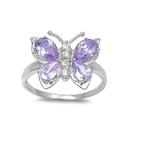 CloseoutWarehouse Lavender Cubic Zirconia Butterfly Hera Ring Sterling Silver Size 7