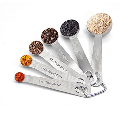Bestoss Stainless Steel Measuring Spoons Home Kitchen Dining Utensils & Gadgets Measuring Tools & Scales - Set of 6 PCS Spoons for Dry and Liquid Ingredients