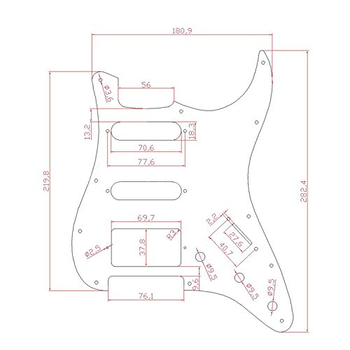 Kmise A7712 Dark Brown Tortoise Shell HSS 11 Holes Pickguard for Fender Strat Style Replacement