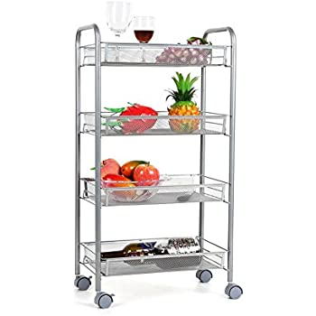 Homfa 4 Tier Mesh Wire Rolling Cart Multifunction Utility Cart Kitchen  Storage Cart On Wheels