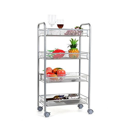 HOMFA 4-Tier Mesh Wire Rolling Cart Multifunction Utility Cart Kitchen Storage Cart on Wheels, Steel Wire Basket Shelving Trolley,Easy moving,Silver