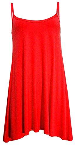 Ladies Plain sin mangas Cami tiras largo chaleco de Swing Top Mini vestido Plus tamaño Rosso