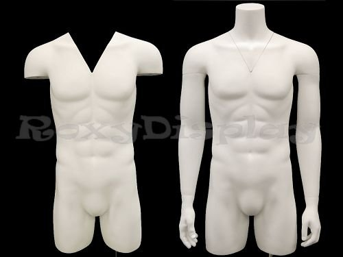 (MD-TMW-IV) ROXY DISPLAY Invisible--Ghost Mannequin! Male Mannequin Torso With nice figure and arms. Removable neck and Arms. Fiberglass material. Steel base included. Matte White Color.