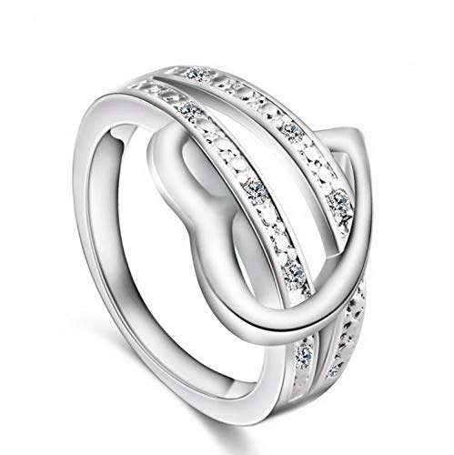 (Campton Fashion Women Lady Crystal CZ White Gold Plated Engagement Wedding Band Ring New | Model RNG - 1834 | 9)