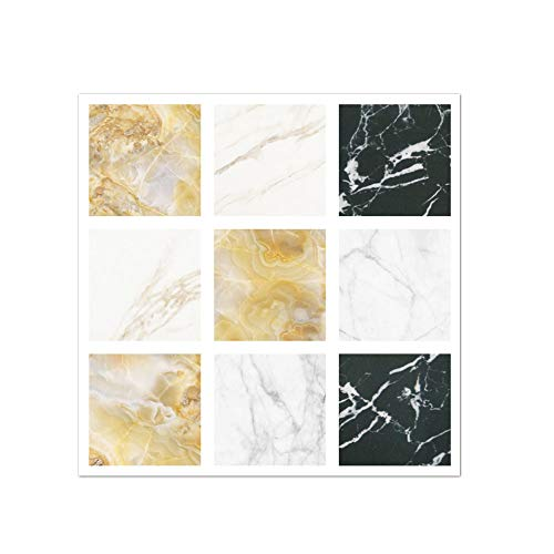 APSOONSELL Mosaic Vinyl Wall Tiles Sticker, Self-Adhesive Peel and Stick Backsplash Tile Decals for Kitchen Bathroom Decor,Colorful Marble(20pcs,3.94