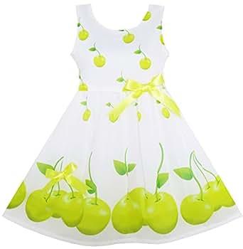 HY91 Girls Dress Green Apple Leaves Print Satin Bow Tie Size 2