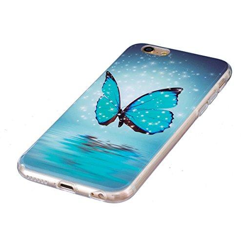 Funda Nuevo para iPhone 6/6S 4.7, Ukayfe Caja de TPU Gel Silicio Plástico transparente para iPhone 6/6S 4.7,Suave Carcasa Caso Parachoques de Flores de Verdad para iPhone 6/6S 4.7,Funda Case Lujo Prem Noctilucent-Mariposa