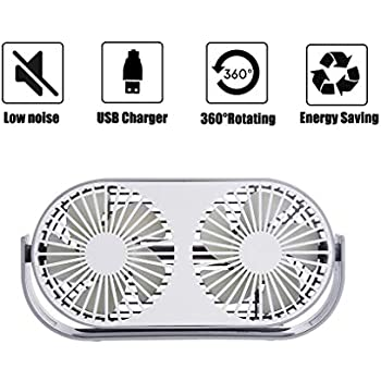 Excitingus 4.6 Inch Mini USB Desk Fan, 3 Speeds, Double Fan Blade, Dual Modes, Bullt in Aromatherapy Tables, USB Powered ONLY (No Battery), Perfect Fan for The Office and Home