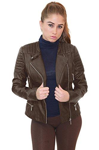 Olivia Miller Womens Faux Leather Zip Up Moto Biker Jacket JK5207SX Brown 2X