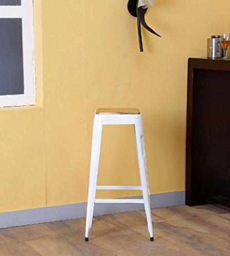 Rajtai Shree French Style Paris Wooden Top Bar Stool / Kitchen Stool(Matt Finish, White)