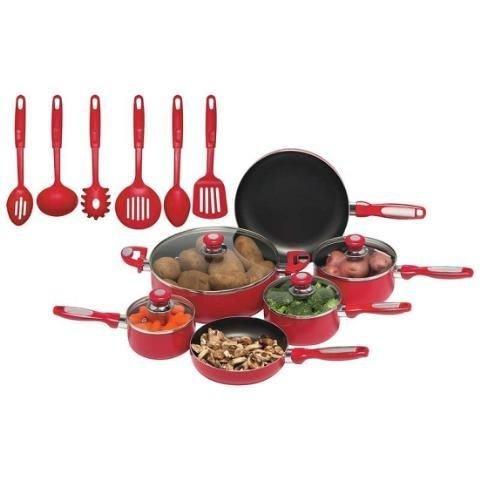 Chefs Secret 16pc Red Aluminum Cookware Set NEW!
