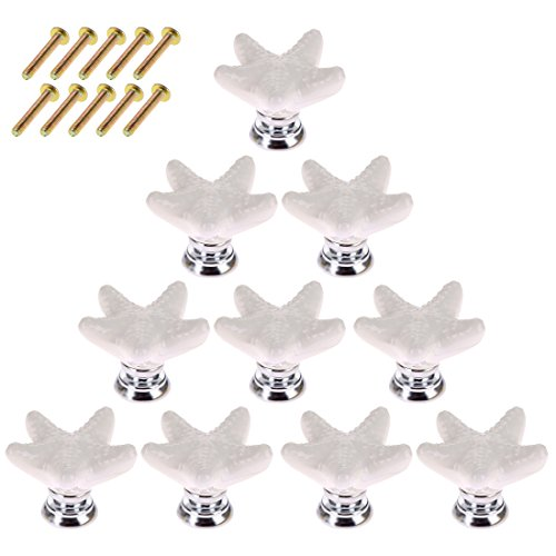 Starfish Drawer Pulls, WOLFBUSH 10 Pack Ceramic Drawer Knobs Handles for Cabinet Wardrobe Door - White by WOLFBUSH