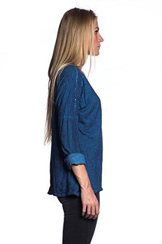 Abbino 5690 Camisas con Cuello Vuelto y Lentejuelas para Mujeres - Hecho en ITALIA - 5 Colores - Verano Otoño Mujeres Femeninas Elegantes Manga Larga Casual Vintage Oficina Fiesta Rebajas Azul (Art. 5425)