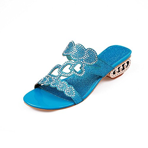 BalaMasa Ladies Low-Heels Glass Diamond Blue Soft Material Slippers - 6.5 B(M) (Glass Slipper Shoes Retail)