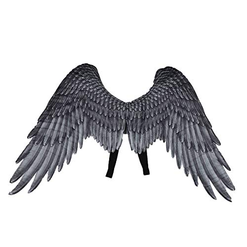 CHICTRY Angel Devil Feather Wings Halloween Mardi Gras Cosplay Pretend Play Dress Up Costume Accessory for Kids Girls Boys Ash Black One Size]()