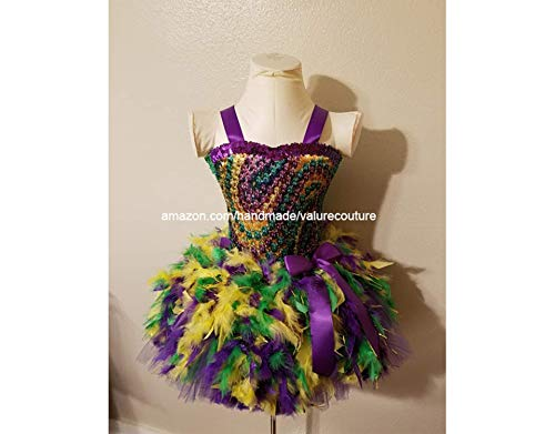 Mardi Gras Outfits For Toddlers (Mardi Gras Beads Feather Inspired Tutu Dress Costume Pageant Birthday Halloween Girls Newborn Infant Toddler Baby Outfit Onesie Shirt Bow Party Princess Kids Gift Topper)