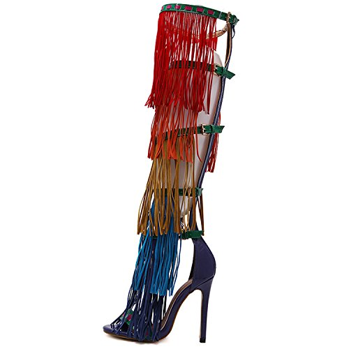 Azbro Mujer Sandalia Estilete de Tacón Alto Sobre Rodilla con Borlas Rojo