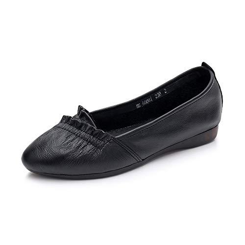 FLYRCX Zapatos de Trabajo de Cuero Zapatos de Suela Blanda Zapatos cómodos Antideslizantes de Moda de Punta Afilada B