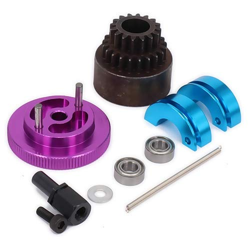 (Wincom Dishman Accessories 1Set 16T-21T Tooth Teeth Two Speed Clutch Set, Bell Springs Flywheel Bearings Axle for 1/10 Rc Nitro Engine Car Hpi Axial - (Color: Purple))