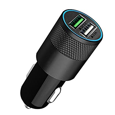 i-Supersim 2-Port USB Rapid Car Charger Travel Vehicle Charger, QC3.0 Fast Charging Tech, for iPhone 6s / 6s Plus, iPad Air 2, iPad Pro, iPad mini, LG G4 / G5; Google Nexus and more