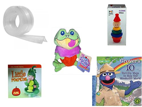 Children's Gift Bundle - Ages 0-2 [5 Piece] Includes: Kidkusion Clearly Safe Edge Cushion, Clear, 6', Clown Stack, Cupcake Cuties Sugar Loaf Plush Stuffed Baking Pastry Funny Frog Doll 10