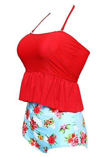 BANDEA Women's Bikini 2 Piece Padded Halter Tankini Swimsuit High Waist Swimwear, Red Flower, Medium